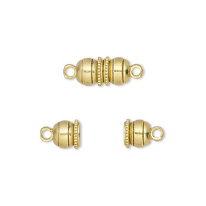 Clasp, Magnetic, Gold-finished Brass, 12x6mm Double Ball. Sold Per Pkg 10
