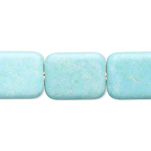 Bead, Magnesite (dyed / Stabilized), Blue-green, 18x14mm Puffed Rectangle, C Grade, Mohs Hardness 3-1/2 4. Sold Per 15-inch Strand
