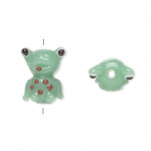 Bead, Lampworked Glass, Multicolored, 17x12mm Frog Spots. Sold Per Pkg 4
