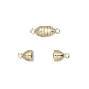 Clasp, Magnetic, Gold-finished Brass, 10x5mm Oval. Sold Per Pkg 10