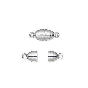 Clasp, Magnetic, Silver-finished Brass, 10x5mm Oval. Sold Per Pkg 10