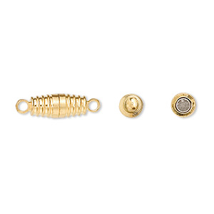 Clasp, Magnetic, Gold-finished Brass, 11x5mm Ribbed Oval. Sold Per Pkg 10