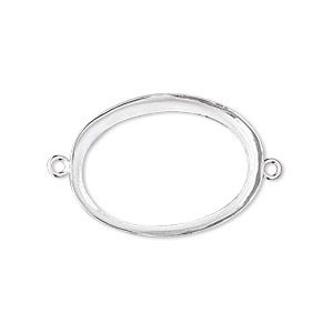 Link, Fine Silver, 26x19mm Open-back Oval 25x18mm Oval Bezel Cup Setting. Sold Individually