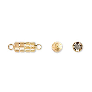 Clasp, Magnetic, Gold-finished Brass, 11x5mm Corrugated Oval. Sold Per Pkg 10
