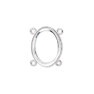 Link, Fine Silver, 19x14mm Oval Open Back 18x13mm Oval Setting, 4 Loops. Sold Individually