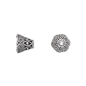 Cone, TierraCast®, Antique Silver-plated Pewter (tin-based Alloy), 9x8.5mm Swirls, Fits 8-10mm Bead. Sold Per Pkg 2 94-5641-12