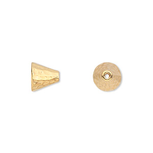 Cone, TierraCast®, Gold-plated Pewter (tin-based Alloy), 8mm Hammered, 5mm Inside Diameter. Sold Per Pkg 2 94-5684-25