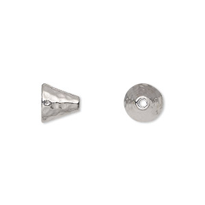 Cone, TierraCast®, Rhodium-plated Pewter (tin-based Alloy), 8mm Hammered, Fits 6-8mm Bead. Sold Per Pkg 2 94-5684-61
