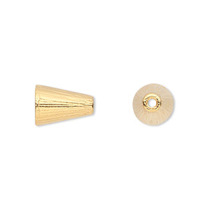 Cone, TierraCast®, Gold-plated Pewter (tin-based Alloy), 12.5x8mm Ribbed, 6mm Inside Diameter. Sold Per Pkg 2 94-5737-25