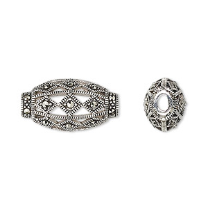 Bead, Sterling Silver Marcasite, 20x11mm Open Design Flat Oval 3x2mm Oval Hole. Sold Individually 7286MB