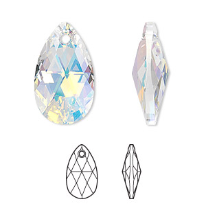 38a062bcf Drop, Swarovski® crystals, crystal AB, 22x13mm faceted pear pendant (6106).  Sold individually.