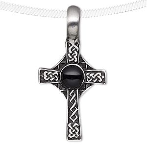 Pendant, Acrylic Antiqued Pewter (tin-based Alloy), Black, 46x23mm Celtic Cross. Sold Individually 7314JD