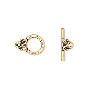 Clasp, TierraCast®, Toggle, Antique Gold-plated Pewter (tin-based Alloy), 11.5mm Round Leaves. Sold Individually 94-6039-26