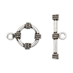 Clasp, Toggle, Antiqued Sterling Silver, 16mm Round Twist Design. Sold Per Pkg 2