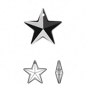 Drop, Swarovski® Crystals, Crystal Passions®, Jet, 20x19mm Faceted Star Pendant (6714). Sold Individually 6714