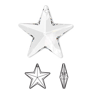 Drop, Swarovski® Crystals, Crystal Passions®, Crystal Clear, 28x27mm Faceted Star Pendant (6714). Sold Individually 6714