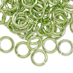 Jumpring, Anodized Aluminum, Green, 10mm Round, 6.8mm Inside Diameter, 14 Gauge. Sold Per Pkg 100