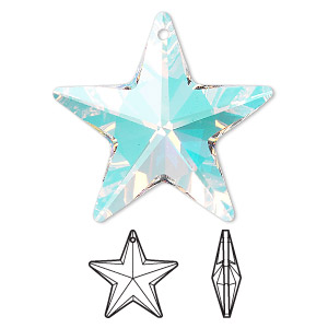 Drop, Swarovski® Crystals, Crystal Passions®, Crystal AB, 28x27mm Faceted Star Pendant (6714). Sold Individually 6714