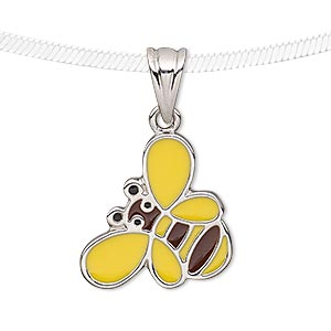 Pendant, Enamel Silver-plated Pewter (tin-based Alloy), Yellow / Brown / Black, 23x18mm Bee. Sold Individually 7325JD