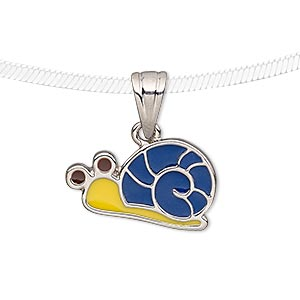 Pendant, Enamel Silver-plated Pewter (tin-based Alloy), Blue / Yellow / Brown, 22x13mm Snail. Sold Individually 7327JD