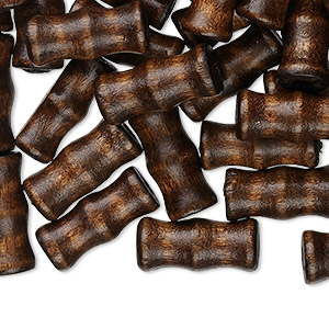 Bead, Wood (dyed / Waxed), Dark Brown, 16x7mm Hand-cut Bamboo, 2.5-3mm Hole. Sold Per Pkg 500