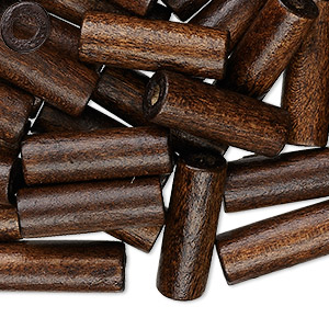 Bead, Wood (dyed / Waxed), Dark Brown, 20x7mm Hand-cut Tube, 2.9mm Hole. Sold Per Pkg 500