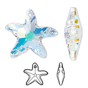 Focal, Swarovski® Crystals, Crystal Passions®, Crystal AB, 30x28mm Faceted Starfish Pendant (6721). Sold Individually 6721