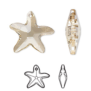 Focal, Swarovski® Crystals, Crystal Passions®, Crystal Golden Shadow, 30x28mm Faceted Starfish Pendant (6721). Sold Individually 6721