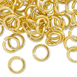Jumpring, Anodized Aluminum, Gold, 10mm Round, 6.8mm Inside Diameter, 14 Gauge. Sold Per Pkg 100