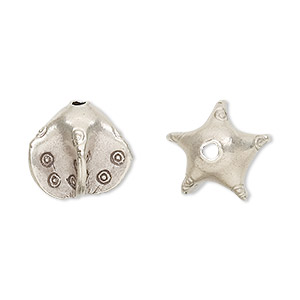 Bead, Hill Tribes, Antiqued Fine Silver, 14x14mm Star. Sold Individually