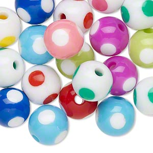 Bead Mix, Resin, Multicolored, 11mm Round Dot Design. Sold Per Pkg 20