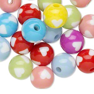 Bead Mix, Resin, Multicolored, 11mm Round Heart Design. Sold Per Pkg 20