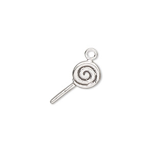Charm, Sterling Silver, 15x8mm Sucker. Sold Individually