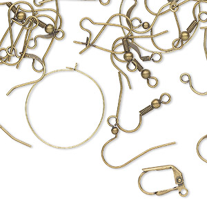 Earwire Mix, Antique Gold-plated Brass Steel, 8 Earwire Styles. Sold Per Pkg 50 Pairs