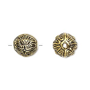Bead, Antiqued Gold-finished Copper-coated Plastic, 12mm Round Flower Design. Sold Per Pkg 35