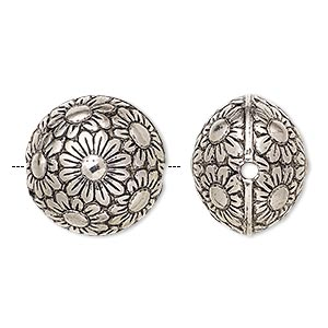 Bead, Antiqued Silver-finished Copper-coated Plastic, 19mm Puffed Round Flower Design 2mm Hole. Sold Per Pkg 20