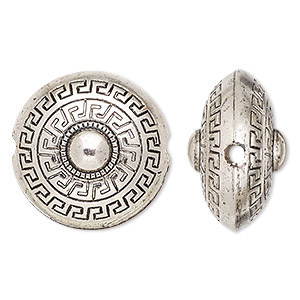 Bead, Antiqued Silver-finished Copper-coated Plastic, 23mm Puffed Flat Round Greek Key Design 2.5mm Hole. Sold Per Pkg 20