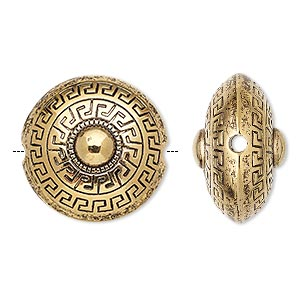 Bead, Antiqued Gold-finished Copper-coated Plastic, 23mm Puffed Flat Round Greek Key Design 2.5mm Hole. Sold Per Pkg 20