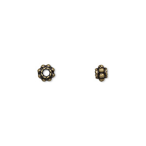 """Bead, Antique Brass-finished """"pewter"""" (zinc-based Alloy), 5x4mm Beaded Rondelle. Sold Per Pkg 24"""