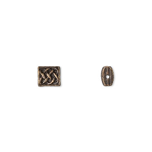 "Bead, Antique Brass-finished ""pewter"" (zinc-based Alloy), 6x5.5mm Rectangle Celtic Knot Design 0.7mm Hole. Sold Per Pkg 24"