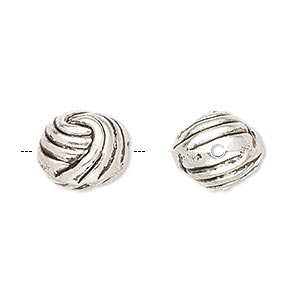 Bead, Antiqued Silver-finished Copper-coated Plastic, 13.5mm Knotted Ball. Sold Per Pkg 50