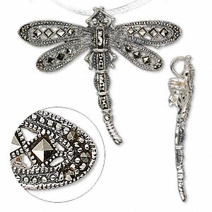 Brooches Marcasite Silver Colored