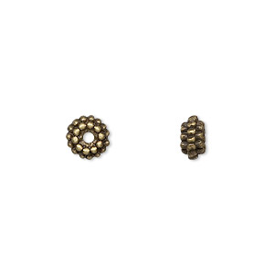 """Bead, Antique Brass-finished """"pewter"""" (zinc-based Alloy), 7x3mm Double Dot Rondelle. Sold Per Pkg 24"""