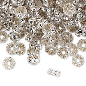 Bead, Swarovski® Crystals Plastic, Crystal Clear Transparent Clear, 6x3mm Mini Rondelle. Sold Per Pkg 1,440 (10 Gross) 4720/102