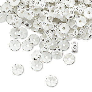 Bead, Swarovski® Crystals Plastic, Crystal Passions®, Crystal Clear White, 5x2.5mm Mini Rondelle. Sold Per Pkg 12 4720/101