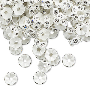 Bead, Swarovski® Crystals Plastic, Crystal Passions®, Crystal Clear White, 6x3mm Mini Rondelle. Sold Per Pkg 144 (1 Gross) 4720/102