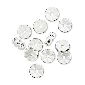 Bead, Swarovski® Crystals Plastic, Crystal Passions®, Crystal Clear White, 7x3mm Mini Rondelle. Sold Per Pkg 12 4720/103