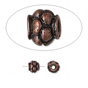 "Bead, Antique Copper-finished ""pewter"" (zinc-based Alloy), 6mm Beaded Round. Sold Per Pkg 24"