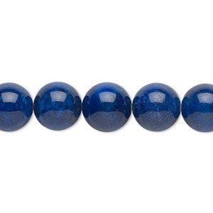 Bead, Lapis Lazuli (natural), 10mm Round, B Grade, Mohs Hardness 5 6. Sold Per 16-inch Strand 7517GS