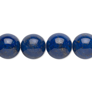Bead, Lapis Lazuli (natural), 12mm Round, B Grade, Mohs Hardness 5 6. Sold Per 16-inch Strand 7518GS